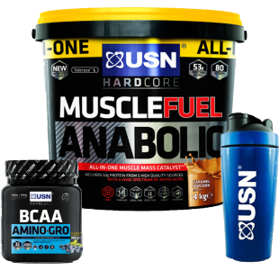USN Muscle Fuel Anabolic 4kg + USN BCAA Amino-Gro 300g + USN Stainless Steel Shaker