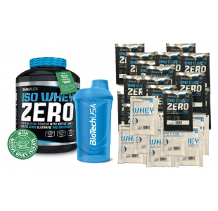 BioTechUSA ISO Whey Zero Protein Powder with Shaker and 25 Individual Flavour Sachets - 2.3kg + 25