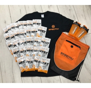 Efectiv 30 x Whey Protein Bundle with Cotton T-Shirt, Gym Bag plus Free Shaker (Bundle 1-5)