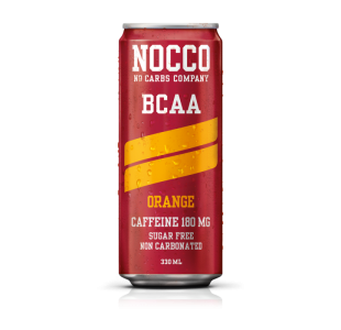 NOCCO Orange (Still) Flavour BCAA Energy Drink +180mg Caffeine (Case of 12 / 24) - Noccos 330ml Cans
