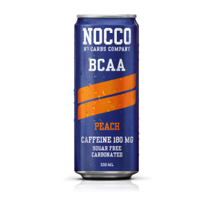 NOCCO Peach Flavour BCAA Energy Drink +180mg Caffeine (Case of 12 / 24) - Noccos 330ml Cans