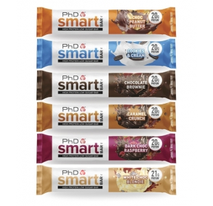 PhD Best Protein Smart Bar™ - 8 Flavours, Mixed Variety Box of 12 x 64g Bars